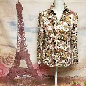 Ann Taylor floral button down shirt